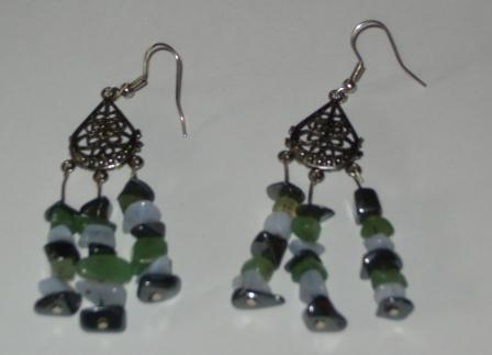Green Aventurine, Hematite, Blue Lace Agate Earrings