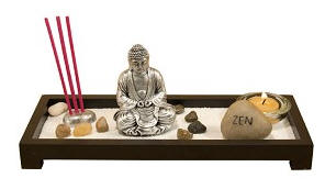 Meditation Buddha Zen Garden with Incense and Candle Holder