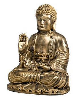 Antique Bronze Resin Buddha 9.5 inches tall