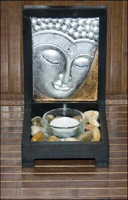 Zen Buddha Picture with Candles, Stand, Tealight and Holder