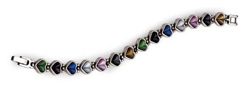 Cat's Eye Heart Link Bracelet