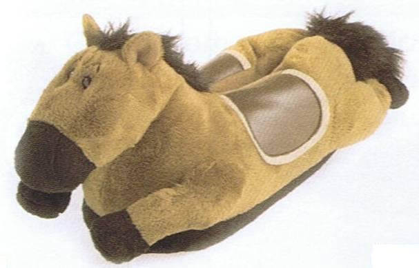 Fun Feet Slippers Brown Horse