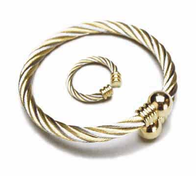 Gold Silver Twist Bracelet & Ring