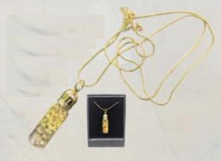 Gold Vial Pendant 23k gold filigree