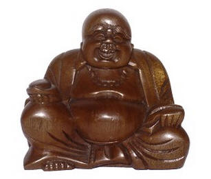 Hand Carved Smiling Happy Buddha
