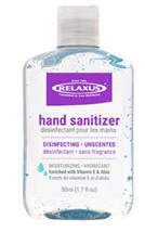 Relaxus Unscented moisturizing hand sanitizer 50ml (1.7 fl oz.) with Vitamin E, Aloe and 75% Alcohol (ethanol)
