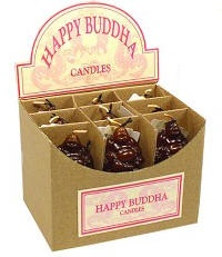 Happy Buddha Candles Display