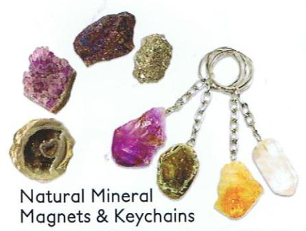 Natural Mineral Magnets & Keychains