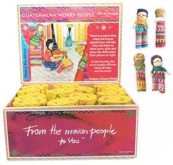 Worry Dolls Complete with box  & Family of four