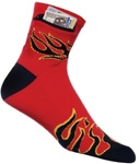 Zip It Gear Socks Black Flame on Red